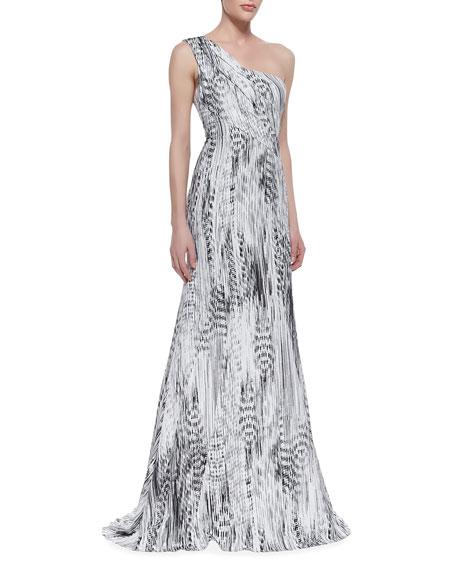 519a606d ML Monique Lhuillier One-Shoulder Printed Gown, Black/White