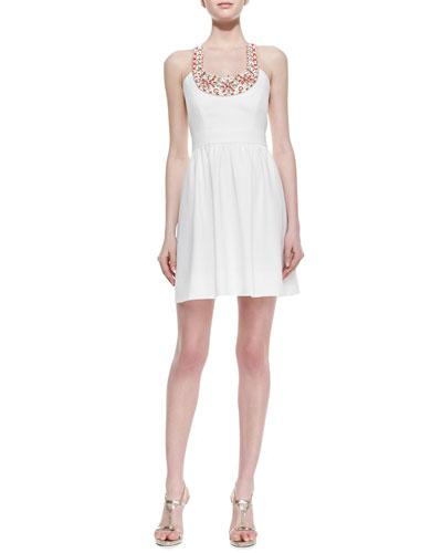 Beaded Halter Full-Skirt Dress
