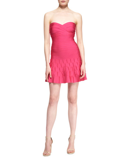 Arlene Strapless Sweetheart-Neck Bandage Cocktail Dress