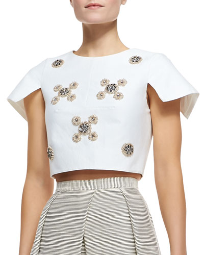 Cropped Bead Cluster Top, Ivory