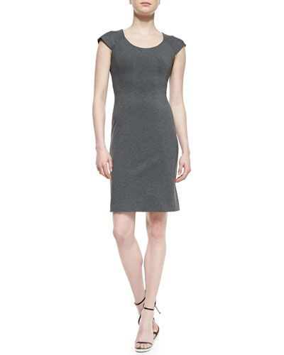 April Cap-Sleeve Structured Jersey Dress