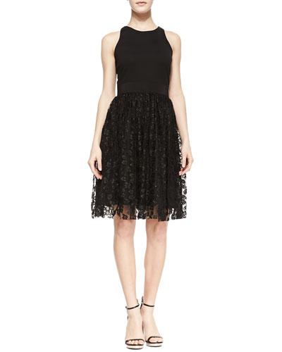 Stella Lace & Ponte Sleeveless Cocktail Dress