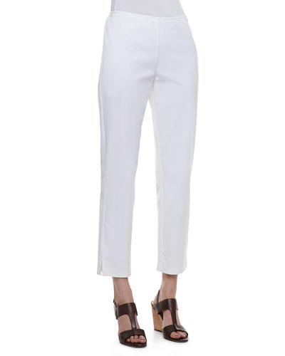 Twill Slim Ankle Pants, White, Petite