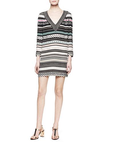 Ruby Long-Sleeve Banded Dot Dress