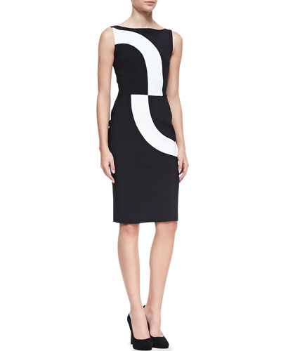 Sleeveless Contrast Swirl Cocktail Dress, 3770
