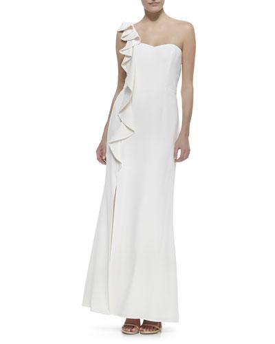 Asymmetric Ruffle-Front Dress