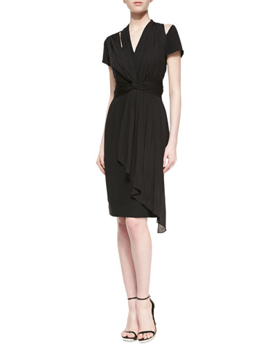 Mora Silk Draped Dress, Black