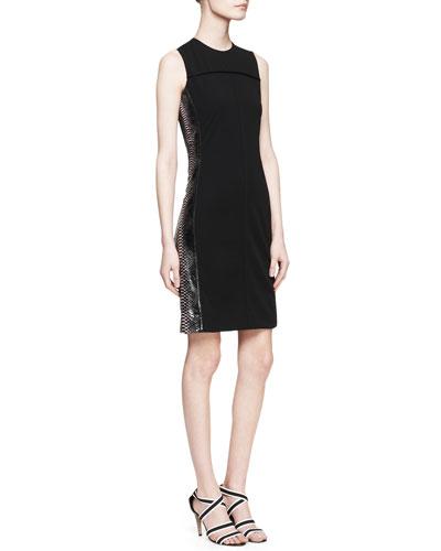 Sleeveless Python-Stripe Dress