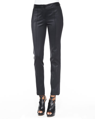 Coated Straight-Leg Stretch Pants