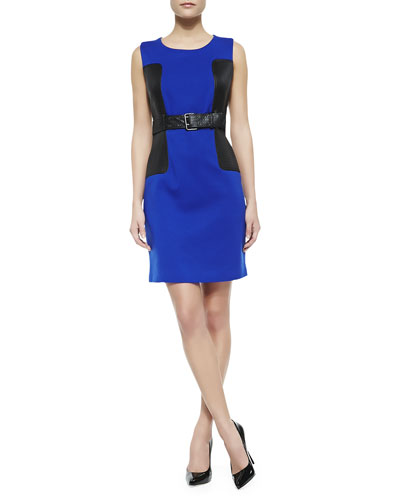 Sleeveless Belted Ponte Dress