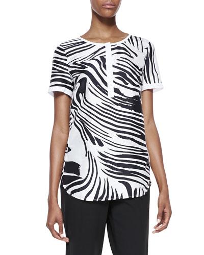 Shari Short Sleeve Zebra-Print Top, Black/White