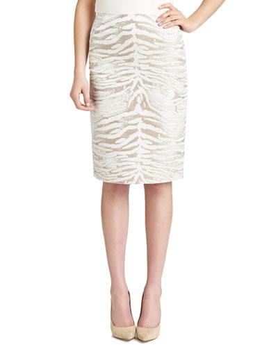 Modern Slim Zebra-Print Skirt, Khaki/White
