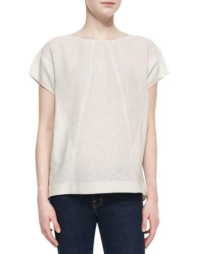 Evi Linen Short-Sleeve Top