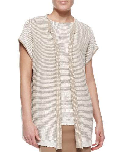 Short-Sleeve Oversized Open-Front Cardigan, Pumice/White