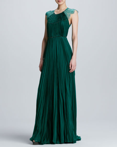 821281760f Catherine Deane Patsy Lace Pleated Chiffon Gown
