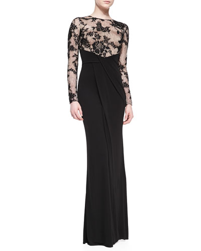 Long-Sleeve Illusion Lace Gown, Black