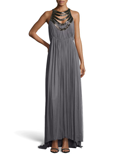 Mirage Mesh Silk Evening Gown, Pewter