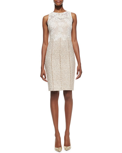Lace Bodice Tweed Skirt Cocktail Dress