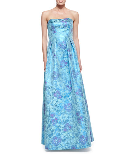 Strapless Floral-Print Jacquard Gown, Blue Multi