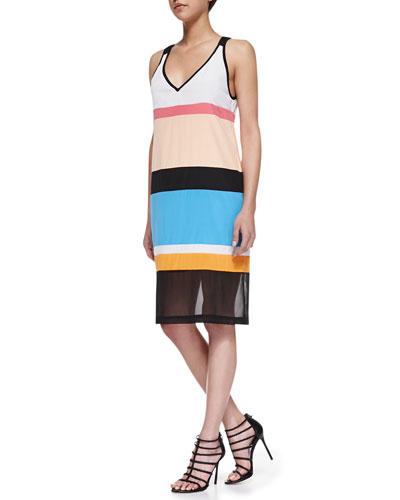 Sleeveless Colorblock Dress with Mesh Hem