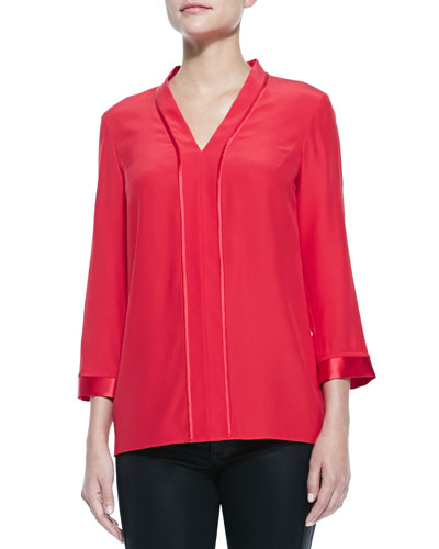 Lucy Long-Sleeve V-Neck Blouse