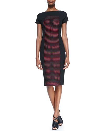 Short-Sleeve Dress with Striped Honeycomb Latticework