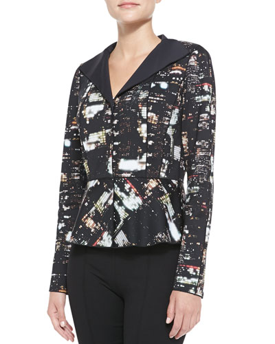 Amanda Cityscape Night-Print Jacket