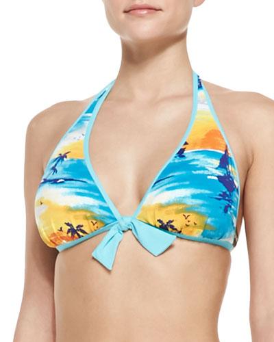Tequila Sunrise Reversible Halter Bikini Top