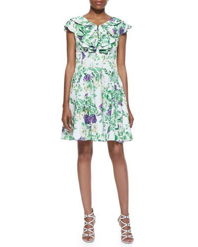 Floral Fit-&-Flare Ruffle Dress