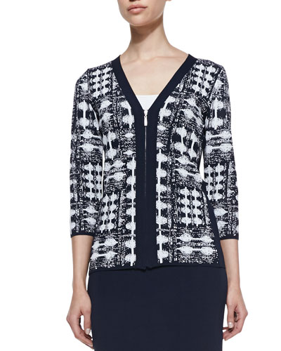 Jacquard V-Neck Zip-Front Jacket