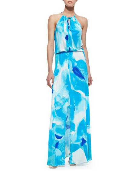 8a98cb058059 Parker Madera Watercolor Print Halter Maxi Dress, Poolside Blue