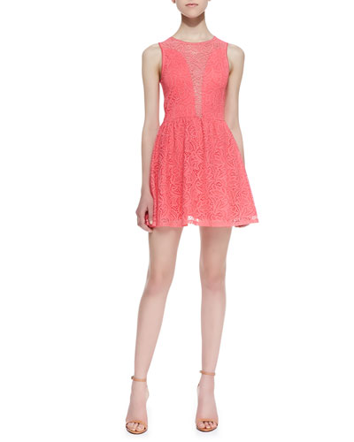 Lulu Paisley Lace Fit-And-Flare Dress, Bubblegum Pink