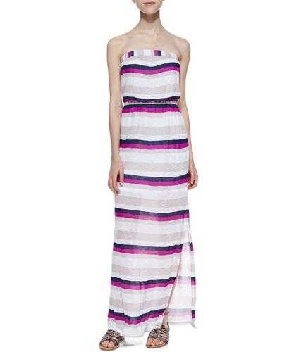 Very Berry Strapless Striped Maxi Dress, Wine Pattern