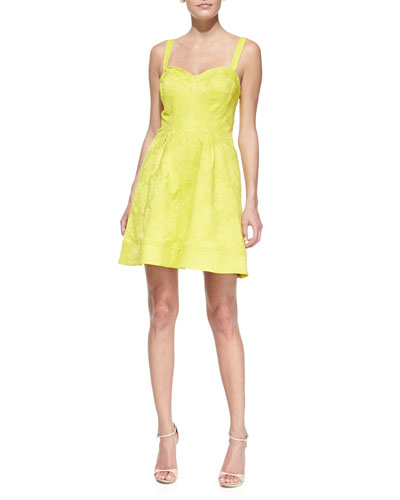 Jacquard Sleeveless Party Dress, Chartreuse