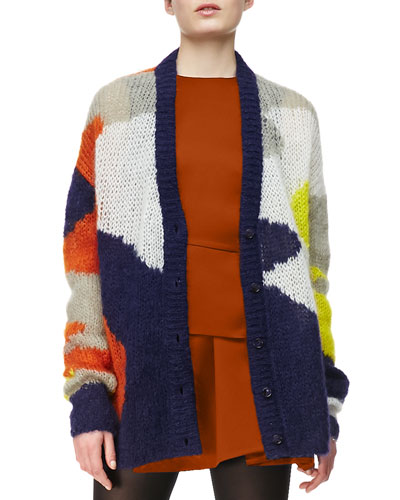 Open-Knit Patchwork-Print Cardigan, Multi