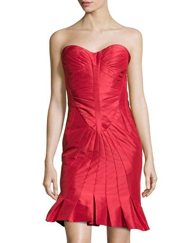 Strapless Fold-Detailed Faille Dress, Grenadine