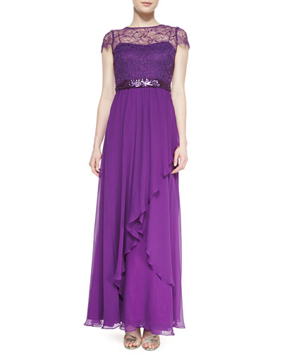 Short-Sleeve Illusion Beaded Lace Bodice Gown