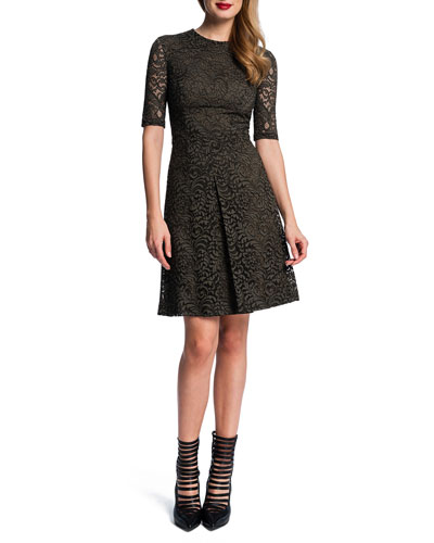 Half-Sleeve Lace Dress W/ Pleat