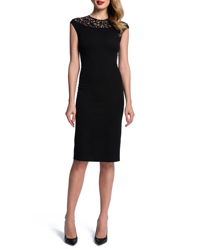 Lace-Yoke Slim Sheath Dress