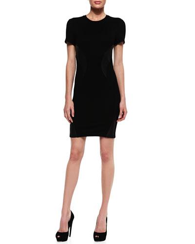 Leather Swirl-Inset Short-Sleeve Dress