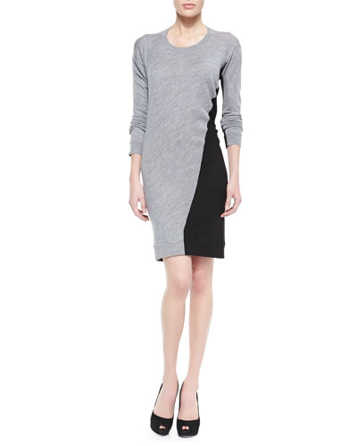 Knit Swirl-Colorblock Sweaterdress