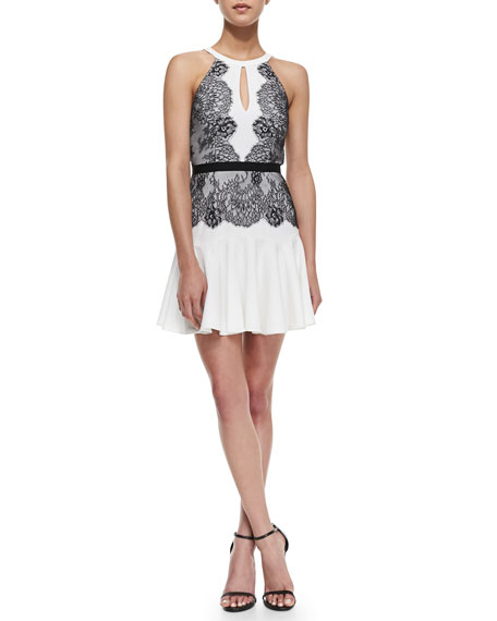 Bcbgmaxazria Leyla Lace Detailed Halter Dress Off Whiteblack