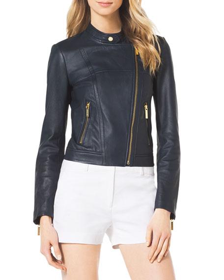 4826cc6d3 MICHAEL Michael Kors Asymmetric Leather Moto Jacket