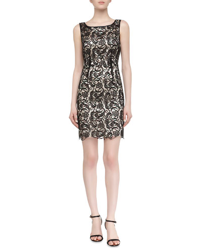 Sleeveless Fit-And-Flare Lace Dress, Black