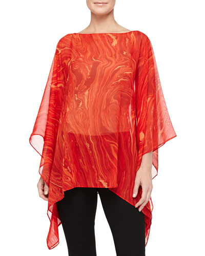 Marble On Chiffon Poncho Top, Coral