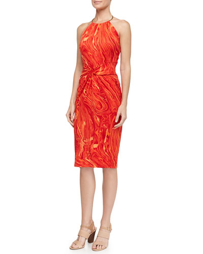Marble-Print Knot-Front Ring Halter Dress, Coral
