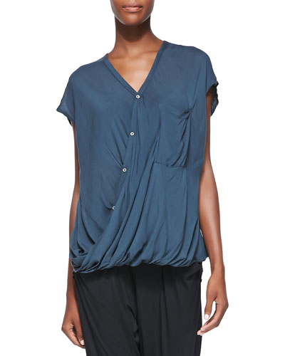 Lush Voile Draped Top, Blue