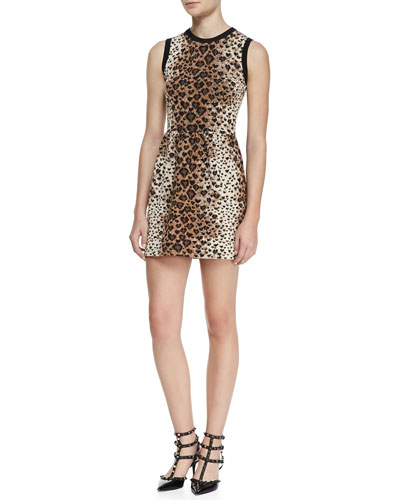 Sleeveless Heart-Leopard-Print Dress, Toffee/Black