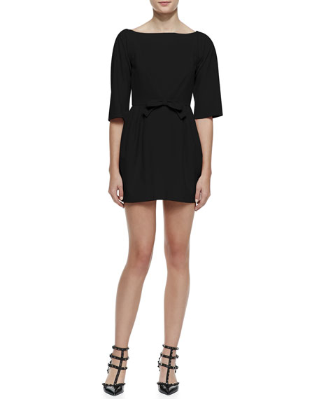Red Valentino 34 Sleeve Bow Waist Dress With Vd Back Black