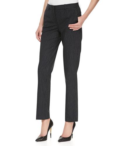 Pinstriped Straight-Leg Slim Pants